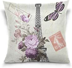"MASSIKOA Paris Eiffel Tower Flowers Butterfly Decorative Throw Pillow Case Square Cushion Cover 18"" x 18"" for Couch, Bed, ..."