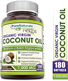 Pure Naturals Extra Virgin & Organic Coconut Oil Softgel 1000 Mg, 180 Softgels, Medium Chain Triglycerides* Supports Cardiovascular Health*Supports Healthy Metabolism*