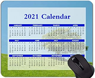 2021 Calendar Mouse Pad With Holidays,Hill Lonely Tree Green Mouse Pads