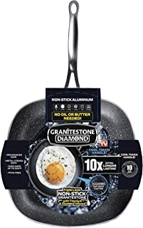 GRANITESTONE 2148 Shallow Square Pan, Non-stick, No-warp, Mineral-enforced cookware PFOA-Free As Seen On TV (11-inch)