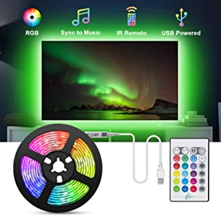 Tiras LED TV 2.2M, TASMOR Tira LED USB RGB 5050 Sincronizaci