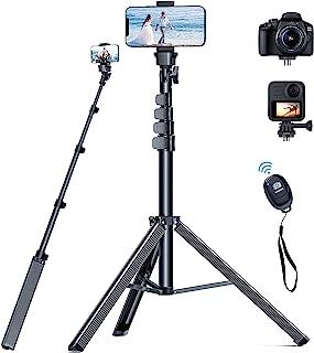 最新の三脚 軽量のスマホ 三脚 167cm、0.3kg の iphone 三脚 Bluetoothリモートコントロール付き三脚 スマホ、 PEKHUKY iPhone 12 11 Pro Max 8 Plus/Samsung S21/カメラ/G...