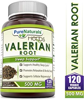 Pure Naturals Valerian Root 500 Mg, 120 Veggie Capsules- Supports Healthy Sleep Cycles* Promotes Relaxation & Restful Sleep* Supports Cellular Rejuvenation*