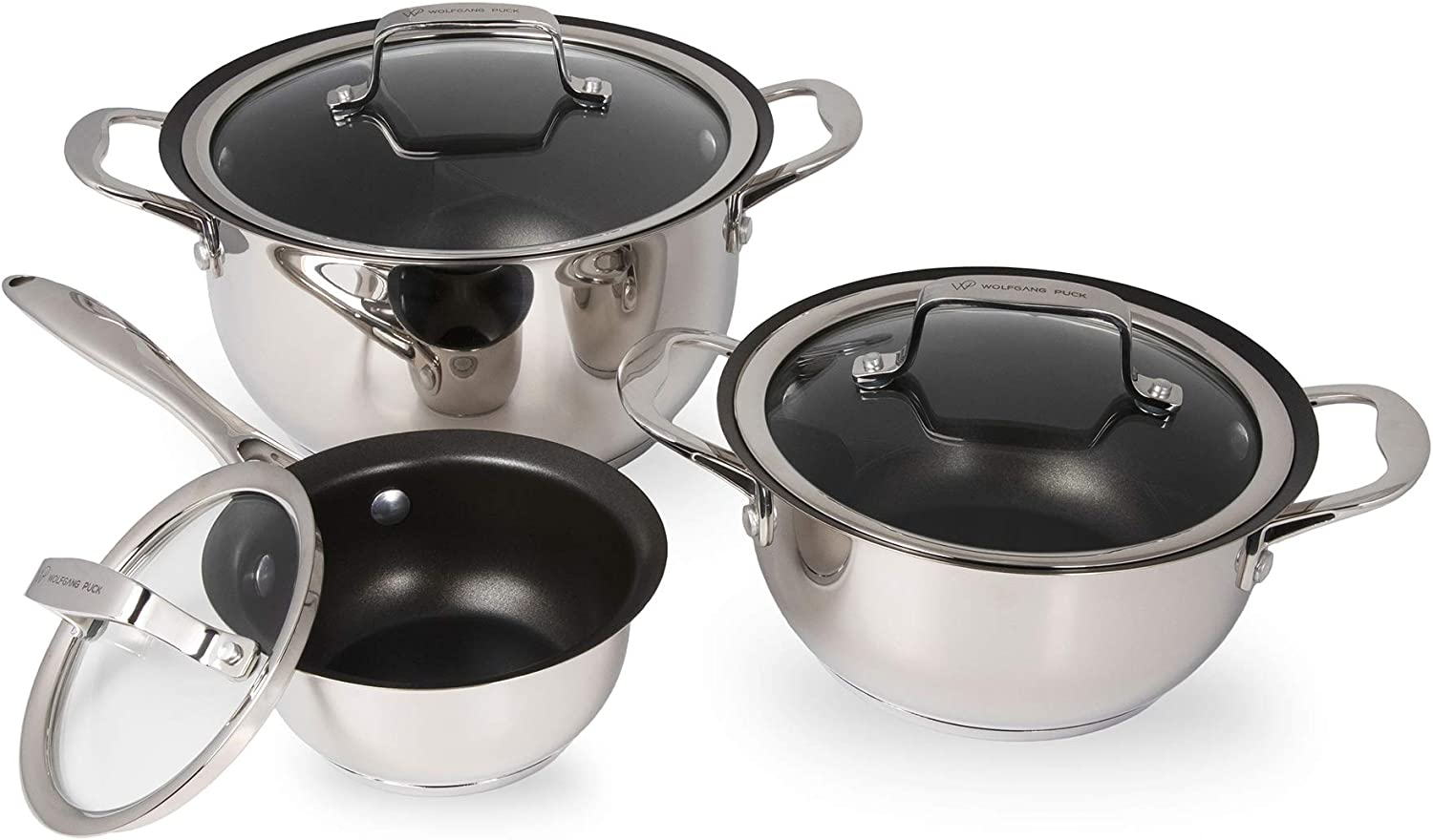 Wolfgang shipfree Puck 6-Piece Stainless Steel Set; Pan Sale Special Price and Scratch- Pots