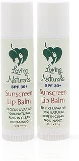 Loving Naturals Clear Lips All Natural Sunscreen Lip Balm SPF 30+ Non-Nano Zinc Oxide UVA/UVB .16oz (2 Pack)
