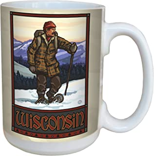 Tree-Free Greetings lm43277 Vintage Wisconsin Snow Shoeing by Paul A. Lanquist Ceramic Mug with Full-Sized Handle, 15-Ounc...