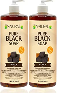 Dr. Natural, Pure Black Liquid Soap, 32 Ounce 2 pack Made From Coconut And Olive Oils, Certified Shea Butter. Cleanses And...