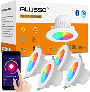 ALUSSO Smart RGBW Recessed Ceiling Lights, 10W Dimmable CCT Selectable LED Downlights with Bluetooth, Compatible with Alex...