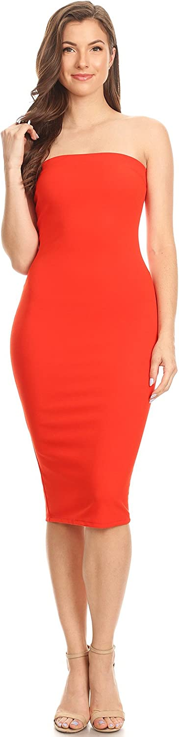 Women's Casual Solid Comfy Sexy Strapless Midi Bodycon Tube Dress/Made in USA