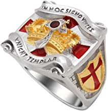 UNIQABLE Handmade Knight Templar Masonic Ring 18k Gold PLD White Version Cross & Crown 45 Gr BR-2