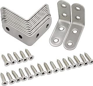 HSeaMall Soporte de acero inoxidable Sujetador de esquina de ángulo recto con tornillos 40 * 40 mm 10PCS (borde redondo)