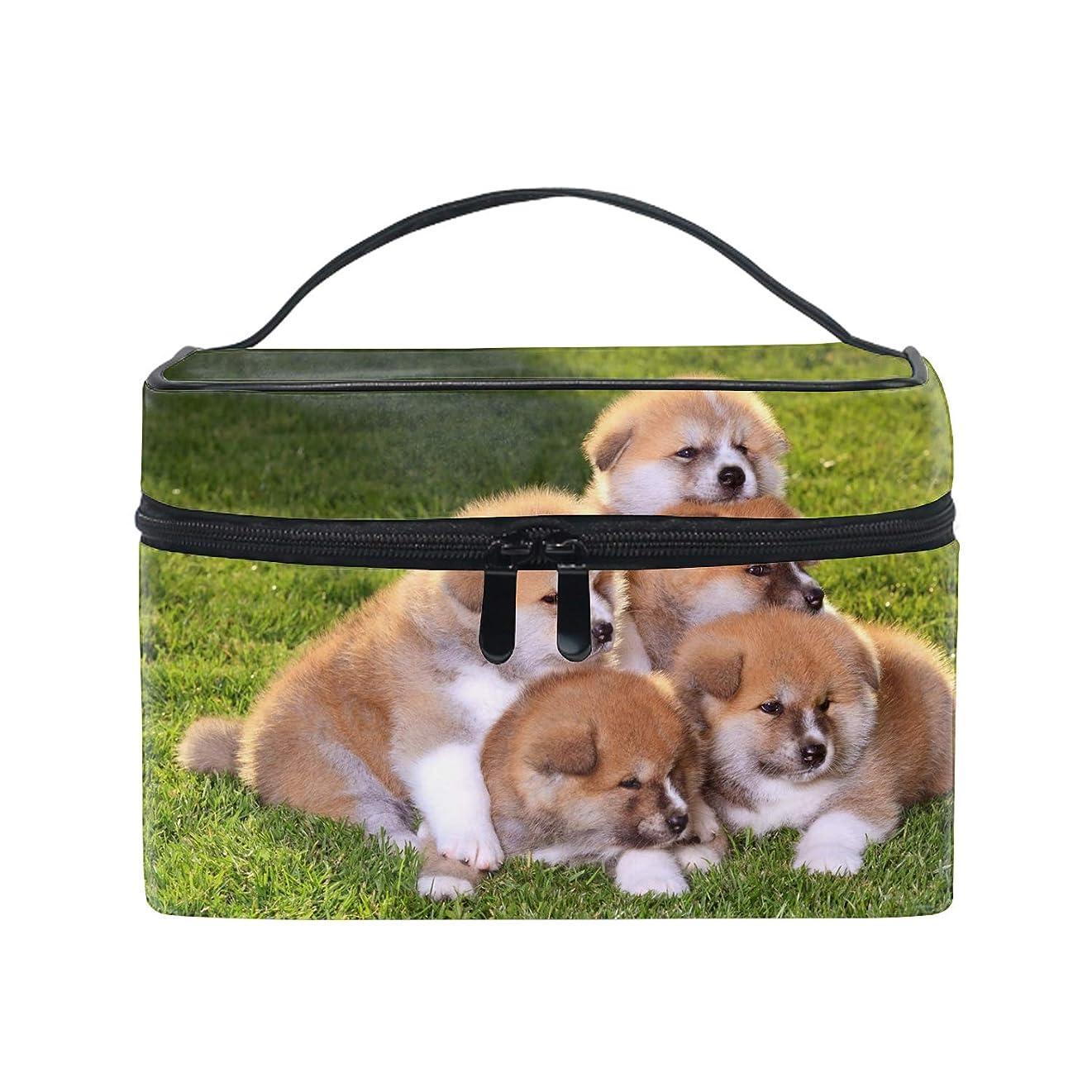 配管工暴力的なシンプルさ収納バッグ 化粧ポーチ レディース 多機能 大容量 防水秋田子犬小型犬草