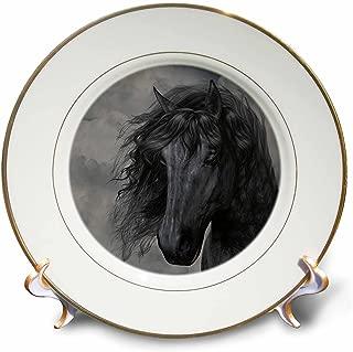 3dRose cp_172942_1 A Black Frisian Horse Portrait in a Cloudy Sky-Porcelain Plate, 8-Inch