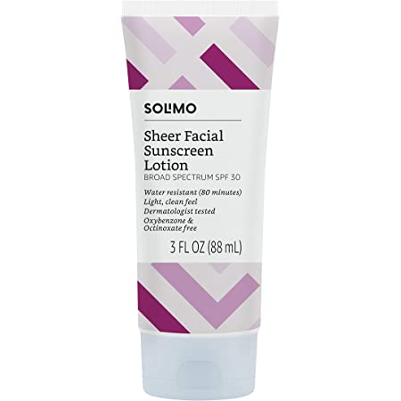 Amazon Brand - Solimo Sheer Face Sunscreen SPF 30, Reef Friendly (Octinoxate & Oxybenzone Free), 3.0 Fluid Ounce