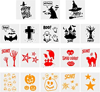 Cieovo Halloween Stencils Template, 18 Pack DIY Decorative Wall Stencil for Painting Drawing Reusable Laser Cut Stencils Art for Fabric Floor Furniture Wood Glass Ceramic Tile and Home Decoration