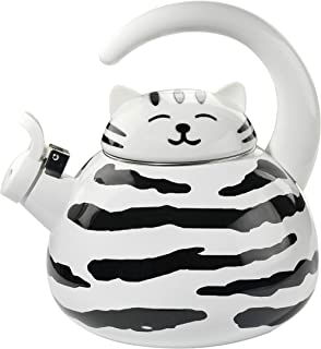 HOME-X Striped Cat Whistling Tea Kettle, Cute Animal Teapot, Kitchen Accessories
