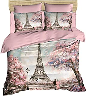 OZINCI Paris Bedding Set, 3D Printed Eiffel Tower Themed 100% Cotton Duvet Cover Set, Special Design, Full/Queen Size, No Flat or No Fitted Sheet, (3 Pcs)