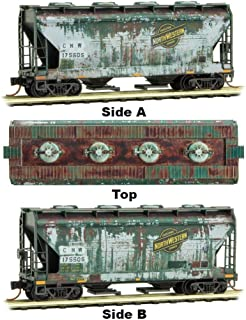 Micro-Trains MTL N-Scale 2-Bay Covered Hopper Chicago North Western Weathered