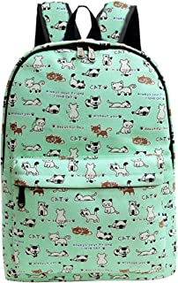 Canvas School Travel Backpack Cute Lightweight Student Bookbag Casual Daypack for Girls and Boys, Light Green