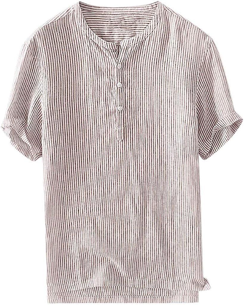Gergeos Short Sleeve Shirt for Men - Summer Men's Breathable Cotton Linen Shirt Casual Stand Collar Striped Button Shirts