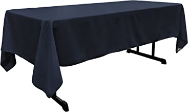 LA Linen 60 by 120 Rectangular Polyester Poplin Tablecloth / Pack of 1 / Navy Blue.