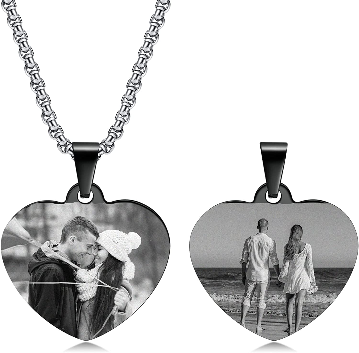 Custom Dog Tags Necklaces for Men Engraved Stainless Steel Picture Dog Tag Pendant Couples Necklace Custom Picture Message Pendant Memorial Picture Necklace