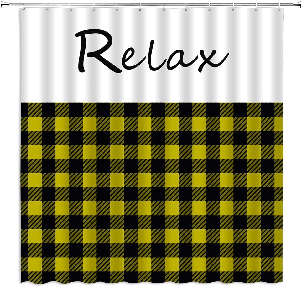 Japan's largest assortment Relax Shower Curtain Super sale period limited Red Black Plaid Inspirational Buffalo Check