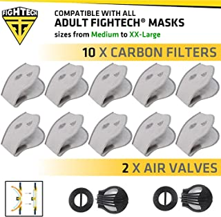 Dust Mask Filter Replacements Package | 10 FIGHTECH Authentic Carbon Filters for Dust Mask and 2 Discharge Valves | N99 PM2.5 Air Filters with Safety Goggles Fogging Up Protection (ADULT)