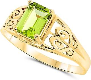 10k Yellow Gold Octagon Green Peridot Gemstone Filigree Ring For Women