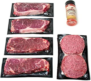 Aged Angus New York Strip and Premium Ground Beef by Nebraska Star Beef - All Natural Hand Cut and Trimmed and Includes Seasoning - Gourmet Package Delivery to Your Door
