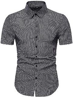 Abeaicoc Men's Regular Casual Short Shirt Fit Sleeve Plaid Button Down Dress Shirt
