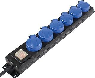 as – Schwabe 6-fach Verteilersteckdosenleiste – Outdoor-Mehrfachstecker mit 1,5 m Leitung – Mehrfach-steckdose 230 V / 16 A Klappdeckel, Schalter & Wandbefestigung – IP44 – Schwarz I 38606