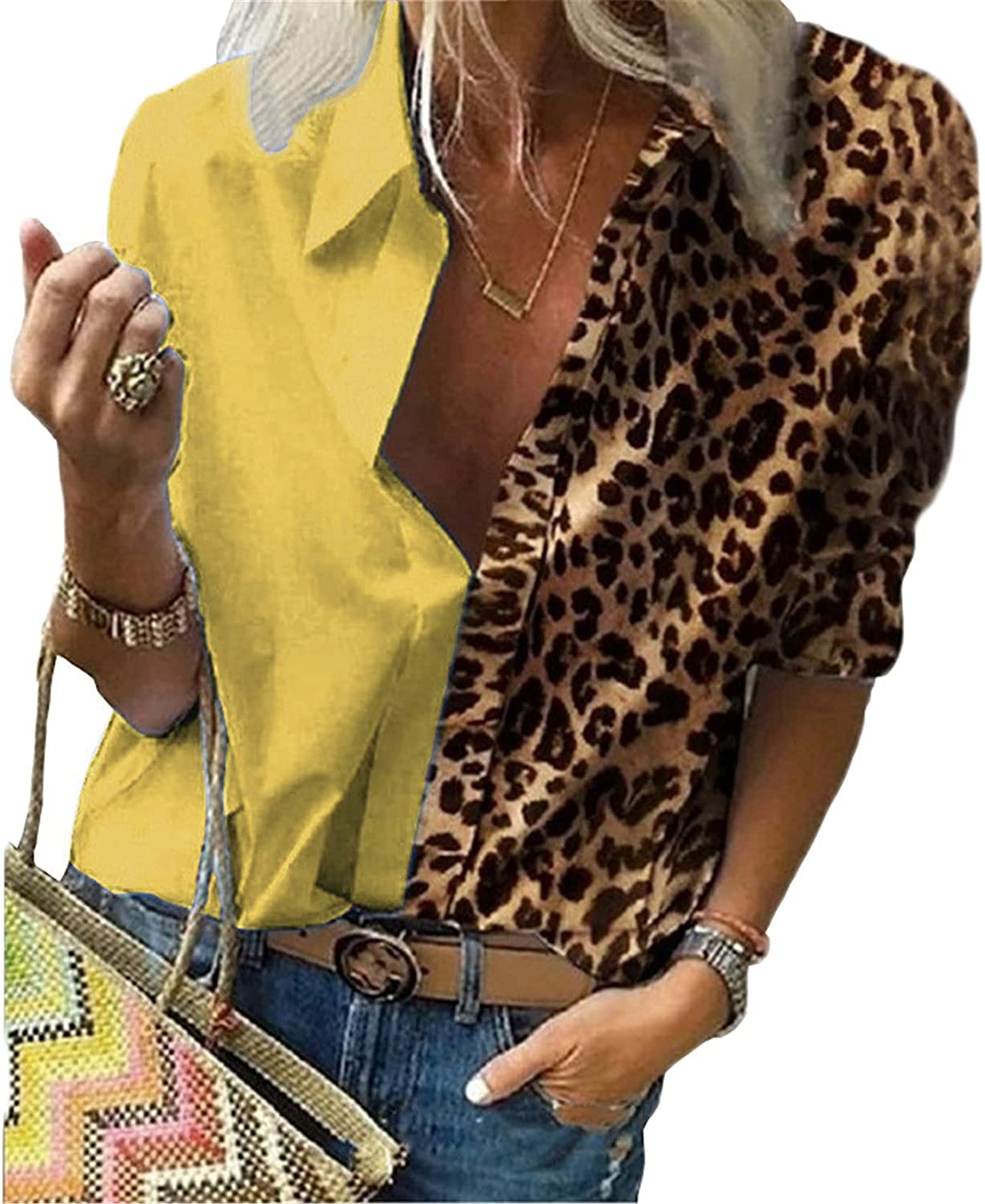 Andongnywell Women's Leopard Print Button Down Shirts Sleeve Tops V Neck Casual Work Blouses Tunics