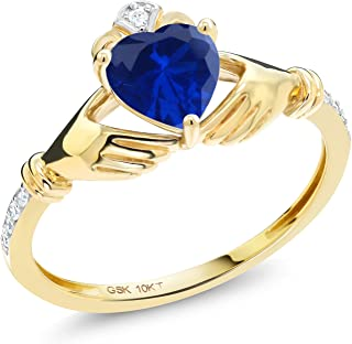 0.86 Ct Irish Celtic Claddagh Blue Simulated Sapphire Diamond Accent 10K Yellow Gold Ring