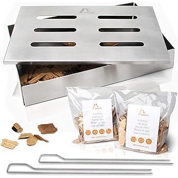 Amazy Affumicatore Box in Acciaio Inox con 2 spiedini per Grill e 2 Tipi di Chips Diverse - Affumicatore Barbecue Offre al Pesce o alla Bistecca Il Tradizionale Sapore del Barbecue Americano