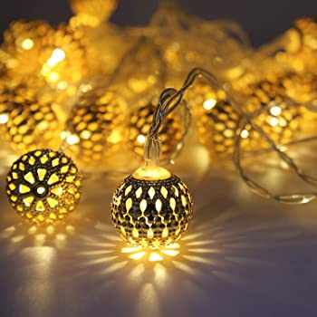 Miradh String Lights Moroccan Ball Multicolor 11ft 16LED Globe Fairy String Light Orb Lantern Christmas Lighting for Diwali, Outdoor Garden, Yard, Patio, Xmas Tree, Party, Home Decoration (Warm-White)