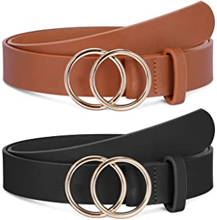 2 Pack Women Leather Belts Faux Leather Jeans Belt with Double O-Ring Buckle Size up to 53 inch