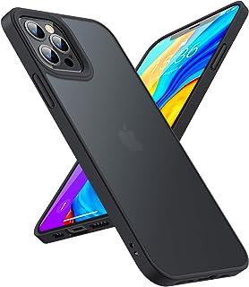 TORRAS 半透明 iPhone 12 Pro Max 用 ケース 超高耐衝撃 米軍MIL規格取得 マット感 ストラップホール付き SGS認証 黄ばみなし レンズ保護 6.7インチ アイフォン12 Pro Max 用カバー マットブラック