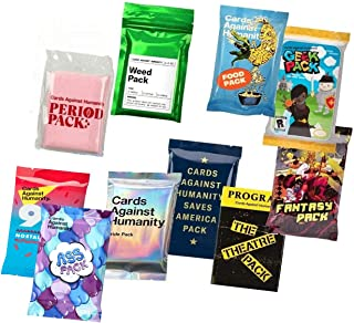 Cards Against Humanity 10 Packs Weed & Period & Pride & Food & Ass & Saves America & Theatre & Fantasy & Geek & 90s Nostalgia