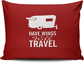 SALLEING Custom Fancy Plush Red and White Have Wings Will Travel - Shasta Camper Trailer Decorative Pillowcase Pillowslip Throw Pillow Case Cover Zippered One Side Printed 12x18 Inches