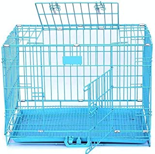PET DREAMS 24 inches Blue Dog Cage with Removable Tray and Powder Coated