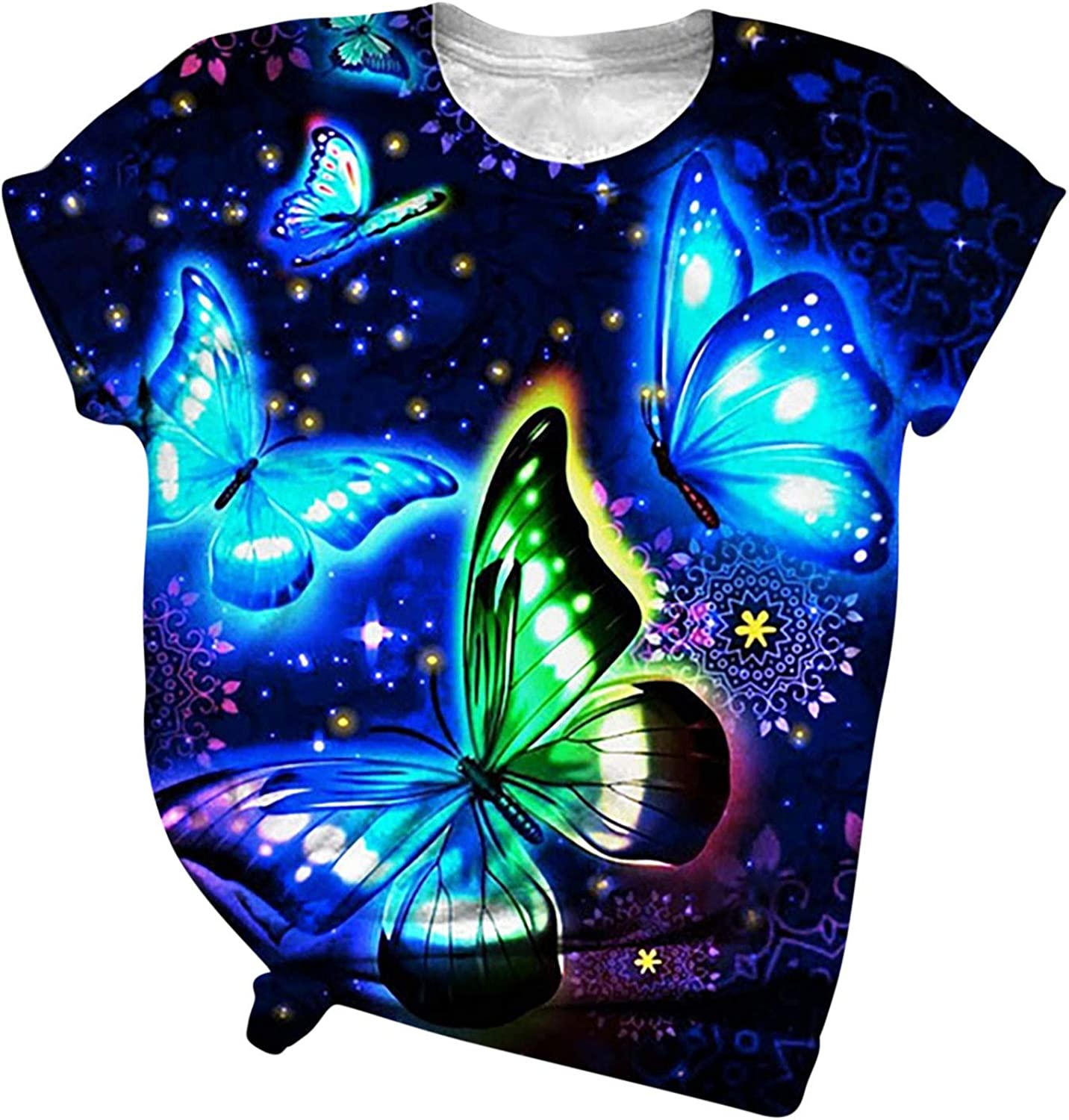 Aukbays T-Shirts for Womens Short Sleeve Funny 3D Printed Butterfly Floral Tops Round Neck Blue Blouse Tees Shirts