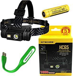 Nitecore HC65 1000 Lumens CREE LED headlamp and rechargeable 3400mAh Li-ion battery with EdisonBright USB powered reading lamp