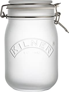 Kilner Frosted Glass Clip Top Jar, Store Dry Foods and Preserve Fruits and Jams, Variety of Jar Sizes and Colors, 34-Fluid Ounces, White