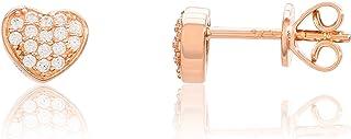 Eye Candy ECJ-ER0097 - Pendientes para mujer con forma de corazón, plata de ley 925 chapada en oro rosa con 32 circonitas ...