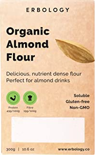 Organic Almond Flour 10.6 oz - Perfect for Almond Drinks - Defatted - Soluble - Gluten-Free - From Cold-Pressed Almonds