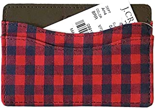 38b2c862f08101 J Crew Factory Men s Buffalo Check Fabric and Leather Card Case