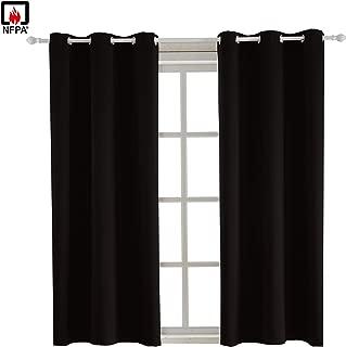 BEGOODTEX Inherent Flame Fire Retardant Room Darkening Blackout Window Curtains, Black, 6 Silver Grommet, 42Wx63L Inch,Pack of 1 Panel …