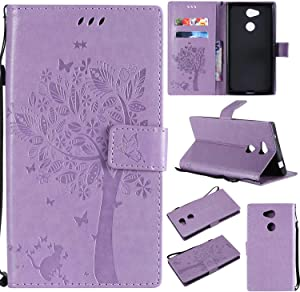 Sony Xperia Case THRION Cat and Tree Leather Flip Wallet Cover with Card Slot Holder and Magnetic Closure for Sony Xperia L2  Purple 2