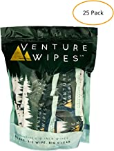 Venture Wipes: Individually Wrapped Body Wipes -25 Count- Natural Ingredients with Tea Tree Oil. Biodegradable Wipes Provide a Camping Shower with a Large 12x12 Inch Textured Wipe. #DirtHappens